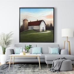 Framed 48 x 48 - White barn