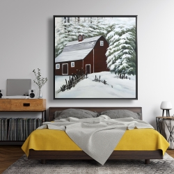 Framed 48 x 48 - Red barn in snow