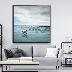 Framed 48 x 48 - Dog on the beach
