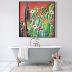 Framed 48 x 48 - Rainbow cactus