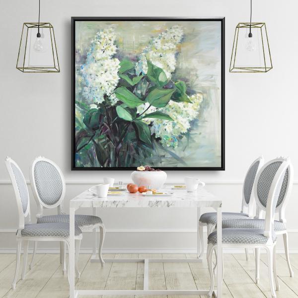 Framed 48 x 48 - White lilacs