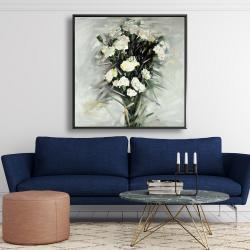 Framed 48 x 48 - Lisianthus white bouquet