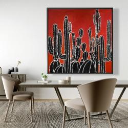Framed 48 x 48 - Black tall cactus