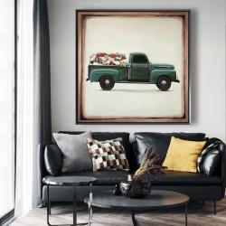 Framed 48 x 48 - Flowers farm truck
