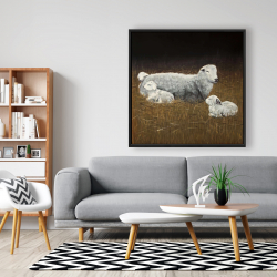 Framed 48 x 48 - Sheep and lambs