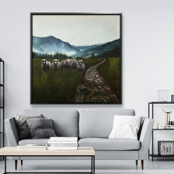 Framed 48 x 48 - Sheep in the countryside