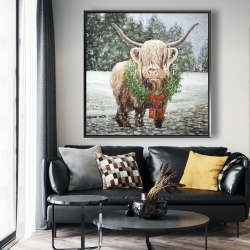 Framed 48 x 48 - Highland christmas cow