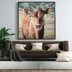 Framed 48 x 48 - Cute jersey cow
