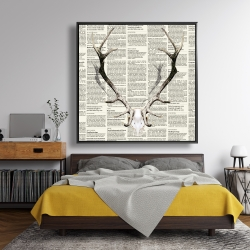 Framed 48 x 48 - Deer horns on newspaper