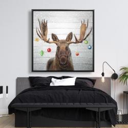 Framed 48 x 48 - Moose has christmas balls