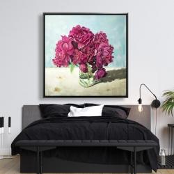 Framed 48 x 48 - Fuchsia peony