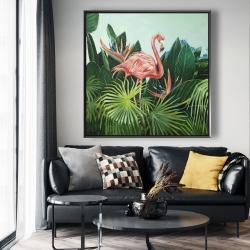 Framed 48 x 48 - Tropical flamingo