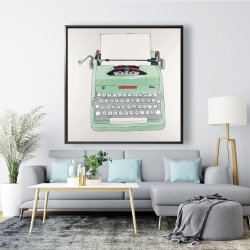 Framed 48 x 48 - Mint typewriter