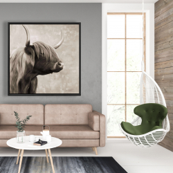 Framed 48 x 48 - Beautiful highland cattle sepia