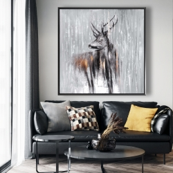 Framed 48 x 48 - Deer in the forest