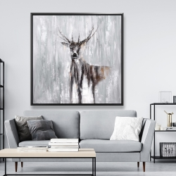 Framed 48 x 48 - Abstract deer in the forest