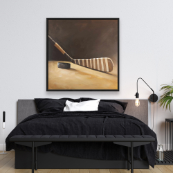 Framed 48 x 48 - Stick and hockey puck