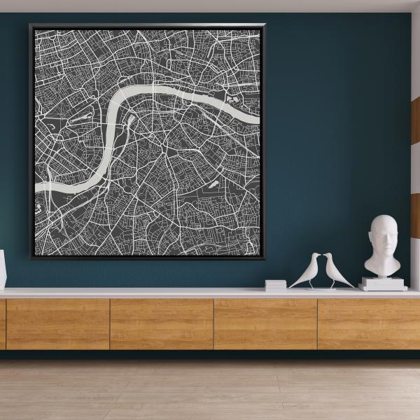 Framed 48 x 48 - Graphic map of london