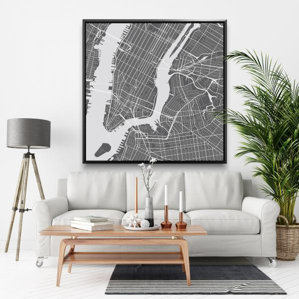 Framed 48 x 48 - New york graphic map