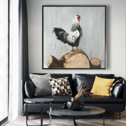 Framed 48 x 48 - Wyandotte rooster