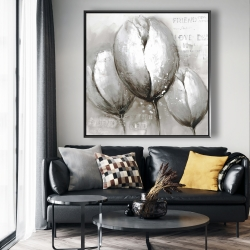 Framed 48 x 48 - Three white tulips