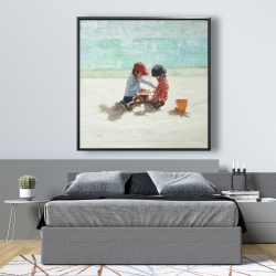 Framed 48 x 48 - Little girls at the beach