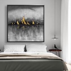 Framed 48 x 48 - Gold sailboats
