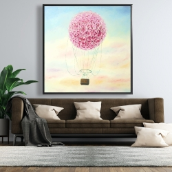 Framed 48 x 48 - Hot air balloon hydrangea flowers