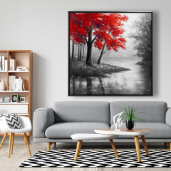 Framed 48 x 48 - Red trees and lake