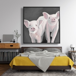 Framed 48 x 48 - Two little piglets