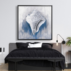 Framed 48 x 48 - Blue conical shell