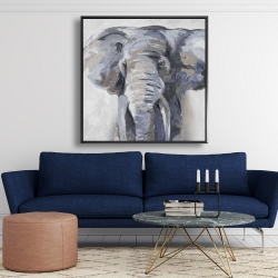 Framed 48 x 48 - Pastel blue elephant