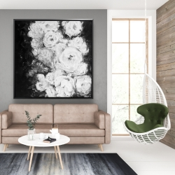 Framed 48 x 48 - Monochrome rose garden