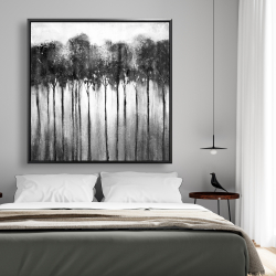 Framed 48 x 48 - Abstract forest black and white