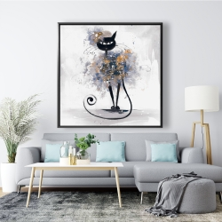Framed 48 x 48 - Cartoon black cat