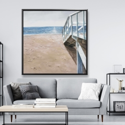 Framed 48 x 48 - Soft seaside landscape