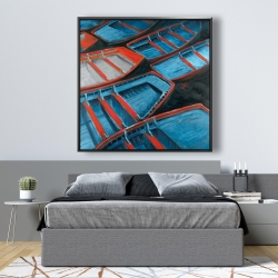Framed 48 x 48 - Small blue and red canoes