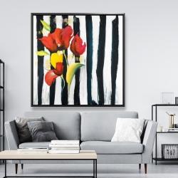 Framed 48 x 48 - Red flowers on stripes
