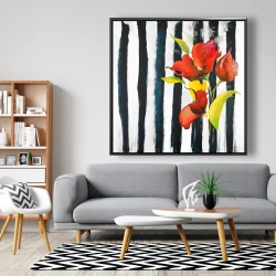 Framed 48 x 48 - Flowers on black and white stripes