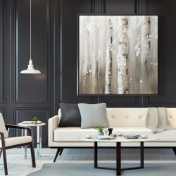 Framed 48 x 48 - Delicate birch trees