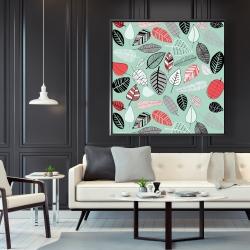 Framed 48 x 48 - Turquoise leaf patterns