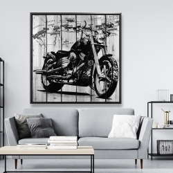 Framed 48 x 48 - Motorcycle grey and black