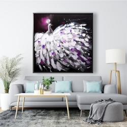 Framed 48 x 48 - Purple peacock
