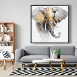 Framed 48 x 48 - Beautiful golden elephant