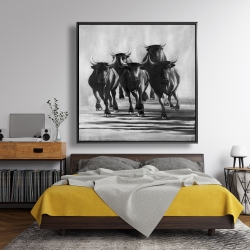 Framed 48 x 48 - Group of bulls at galops