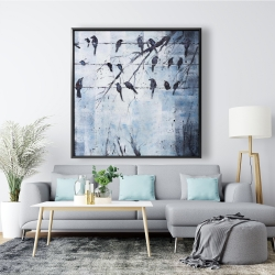 Framed 48 x 48 - Abstract birds on electric wire