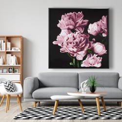 Framed 48 x 48 - Pink peonies