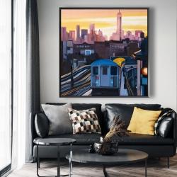 Framed 48 x 48 - Sunset over the subway in new-york