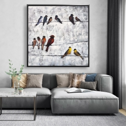 Framed 48 x 48 - Colorful birds on branches
