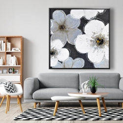 Framed 48 x 48 - Gray flowers